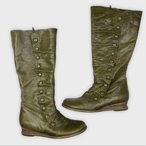 Miz Mooz Leather Bloom Boots Olive Green Size 8